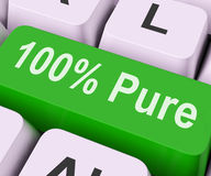 Hundred Percent Pure Key Means Absolute Uncorrupt Stock Photo