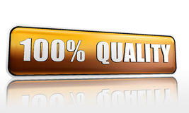 Hundred percent quality. 100 percent quality golden 3d banner with text Stock Image