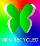 Hundred Percent Recycled Butterfly Green 3d Illustration. Hundred Percent Recycled Butterfly Cutout Green 3d Illustration vector illustration