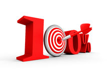 Hundred percent 100% red symbol with target and arrow. 3d render illustration Stock Photo