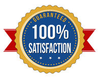 Hundred percent satisfaction guaranteed badge. On white background, vector illustration Stock Images