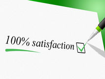 Hundred Percent Satisfaction Means Contentment Satisfied And Content Royalty Free Stock Image