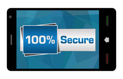 Hundred Percent Secure On Mobile Screen Stock Image