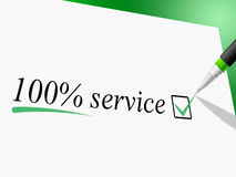 Hundred Percent Service Represents Help Desk And Advice Stock Image
