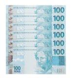 Hundred reais. Some hundred reais bills scattered, brazilian money Royalty Free Stock Photos