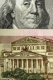 Hundred rubles and one hundred dollars. close up Royalty Free Stock Images