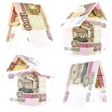 Hundred russian ruble set, rouble house isolated on white background Stock Image