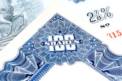 Hundred Shares. Stock Certificate Engraving Stock Image