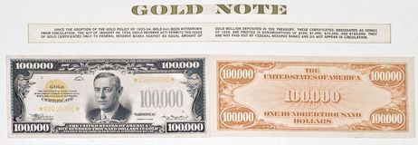 Hundred thousand dollar bill Royalty Free Stock Image