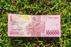 Hundred thousand rupiah paper money on green grass. Hundred thousand Indonesia rupiah paper money on a green grass Royalty Free Stock Image