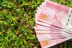 Hundred thousand rupiah paper money on green grass. Hundred thousand Indonesia rupiah paper money on a green grass Royalty Free Stock Images