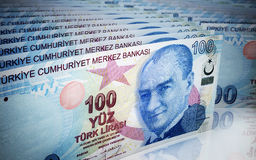 Hundred Turkish lira. 3d render Hundred Turkish lira stacks depth of field (close-up Stock Image