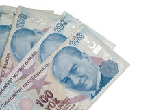 Hundred Turkish liras banknotes. On the isolated white backgrounds Stock Photography