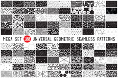 Hundred universal different geometric seamless patterns. 100 Universal different geometric seamless patterns. Endless vector texture can be used for wrapping Vector Illustration