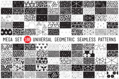 Hundred universal different geometric seamless patterns Stock Image