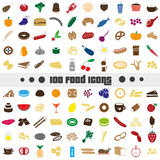 Hundred various food and drink color icons big set eps10 Stock Photography