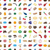 Hundred various food and drink color icons seamless pattern eps10 Royalty Free Stock Photography