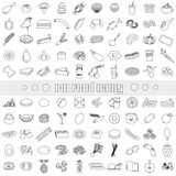 Hundred various food and drink outline icons big set eps10 Royalty Free Stock Image