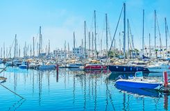 Hundred of yachts` sails. The hundreds of yachts` sails rise above the port of Monastir, Tunisia royalty free stock photos