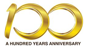 A Hundred Years Anniversary Golden Logo. Logo for 100 Years Anniversary for Birthday, Company Celebration, etc Stock Images