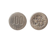 Hundred yen coins close up. On the white background Stock Images
