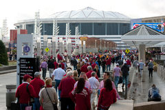 Hundreds Of Alabama Fans Walk Toward Georgia Dome Royalty Free Stock Photo