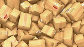 Hundreds of cardboard parcels lying on a heap. 3d illustration of hundreds of cardboard boxes lying on a heap stock illustration