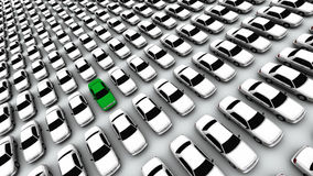 Hundreds of Cars, One Green! Stock Images