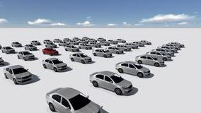 Hundreds of Cars, One Red. Made in 3d software Stock Photos