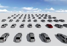 Hundreds of Cars, One Red. Made in 3d software Stock Photo