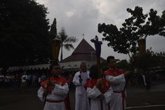 Hundreds of Catholics do Procession of the Cross in St. Paul`s Church Weather Semarang, Friday, April 14, 2017, In the way of the. Cross procession Easter Royalty Free Stock Photography