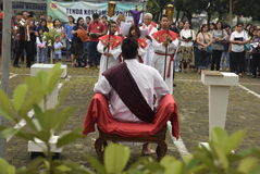 Hundreds of Catholics do Procession of the Cross in St. Paul`s Church Weather Semarang, Friday, April 14, 2017, In the way of the. Cross procession Easter Stock Photography