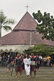 Hundreds of Catholics do Procession of the Cross in St. Paul`s Church Weather Semarang, Friday, April 14, 2017, In the way of the. Cross procession Easter Royalty Free Stock Image
