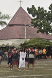 Hundreds of Catholics do Procession of the Cross in St. Paul`s Church Weather Semarang, Friday, April 14, 2017, In the way of the. Cross procession Easter Royalty Free Stock Photo