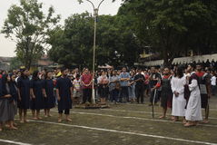 Hundreds of Catholics do Procession of the Cross in St. Paul`s Church Weather Semarang, Friday, April 14, 2017, In the way of the. Cross procession Easter Stock Photo