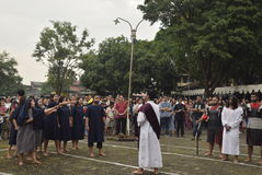 Hundreds of Catholics do Procession of the Cross in St. Paul`s Church Weather Semarang, Friday, April 14, 2017, In the way of the. Cross procession Easter Royalty Free Stock Photos