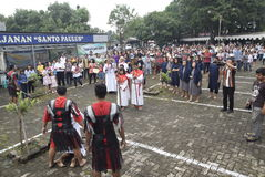 Hundreds of Catholics do Procession of the Cross in St. Paul`s Church Weather Semarang, Friday, April 14, 2017, In the way of the. Cross procession Easter Stock Photos