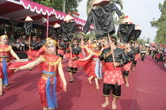 Hundreds of dancers Farmers Staged In Sukoharjo Royalty Free Stock Photo