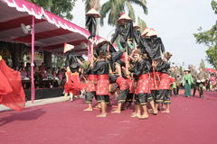 Hundreds of dancers Farmers Staged In Sukoharjo Royalty Free Stock Images