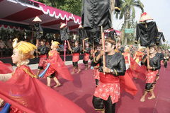 Hundreds of dancers Farmers Staged In Sukoharjo Stock Photo