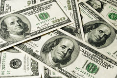 Hundreds dollars. Many banknotes of hundreds dollars Royalty Free Stock Images
