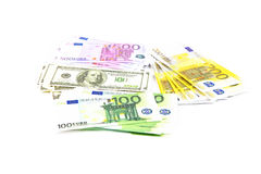 Hundreds of dollars and 100 200 500 euro Stock Photography