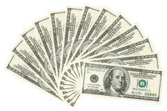 Hundreds of dollars spread Royalty Free Stock Photo