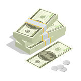 Hundreds of dollars. Stacked pile of cash. Stack of US Dollars on white background. Flat 3d isometric vector Royalty Free Stock Image