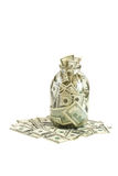 Hundreds of dollars stuffed in a glass jar Royalty Free Stock Photography