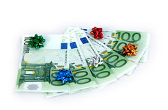 Hundreds euro as gift. Hundreds euro and funny roses as gift royalty free stock photography
