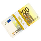 Two hundred euro pack. Hundreds euro banknotes pack on a white background Royalty Free Stock Image
