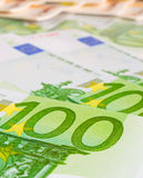 Hundreds of euros closeup Royalty Free Stock Photos