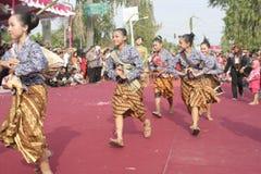 Hundreds of Farmers Female Dancer Performed In Sukoharjo Stock Image