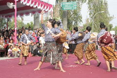 Hundreds of Farmers Female Dancer Performed In Sukoharjo Royalty Free Stock Image